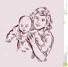 hand drawn sketch mother and baby vector stock vector image