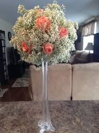 Vases For Centerpieces For Weddings Eiffel Tower Vases With Baby U0027s Breath And Pearls Glencliffmanor