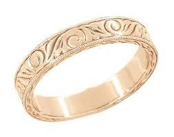 men u0027s art deco scrolls engraved wedding band in 14 karat rose gold