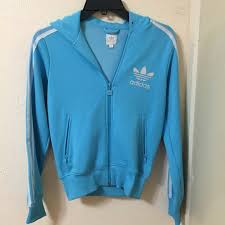 light blue adidas hoodie adidas jackets blazers light blue jacket hoodie zip up never