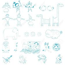easy outlines doodles cartoon outlines characters over white background easy