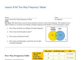 Two Way Frequency Tables Lesson 104 Two Way Frequency Tables Math Algebra Showme
