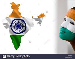 Flag Og India Indian Flag On India Map Next To Painted Indian Boy Stock Photo