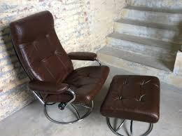 mid century ekornes brown leather recliner chair danish modern