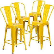 indoor outdoor counter height stool flash furnitur amazon com flash furniture 4 pk 24 high yellow metal indoor