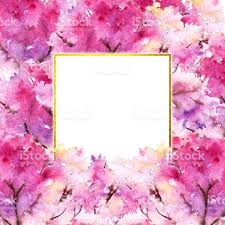 watercolor pink cherry flower floral tree frame