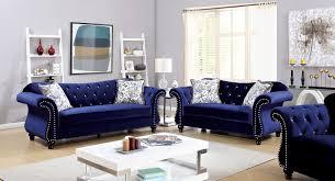 jolanda collection blue flannelette button tufted u0026 nailhead trim