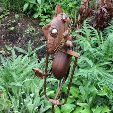 rocking metal cat garden ornament gardens2you