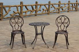furniture patio bistro sets with brown wooden railing and grey
