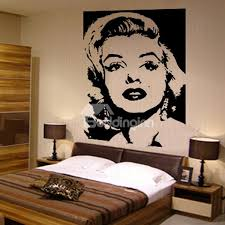 tribute to marilyn monroe sketch in black and white wall stickers