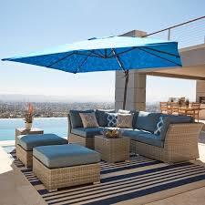corvus 8 piece grey wicker patio furniture set with blue cushions