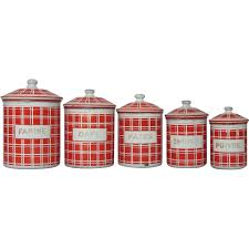 five french enamel kitchen canisters bold red check design