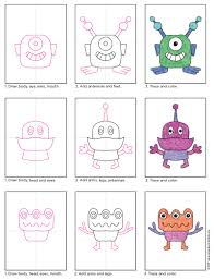 draw aliens art projects for kids