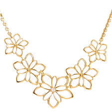 statement necklace with flower images Gold flower statement necklace claire 39 s jpg