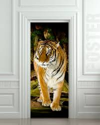 Zoological Shower Curtain by Door Sticker Tiger Wildlife Zoological Animal Zoo Mural Decole