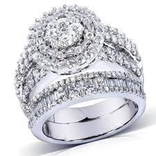 Walmart Wedding Rings Sets For Him And Her by Jewelry Rings Wedding Triots Gold 100ct Diamond Round Double Halo