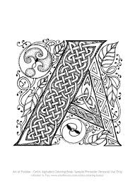 free celtic letter a page to print and color u2013 art of foxvox