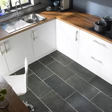 modern gray kitchen floor tile idea and wooden countertop plus
