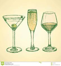 retro martini sketch martini champagne and wine glass stock illustration