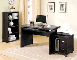 black computer desk for small home office design plus printer and