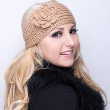 winter headband knitted headbands with flower assorted solid colors for