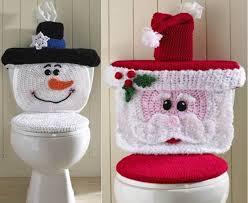 Christmas Bathroom Decor Sets by Christmas Crochet Patterns Santa U0026 Snowman Toilet Cover Beesdiy Com