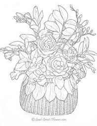 flowers bouquette color coloring pages colouring detailed