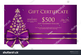 exclusive christmas gift certificate purple ribbon stock vector