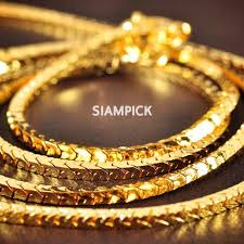 new arrival fashion 24k gp gold plated mens women 24 inch 2mm thai baht 24k yellow gold gp flat snake chain necklace