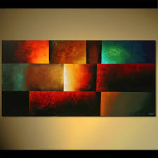 abstract painting horizontal bright colors modern art colorful 5409
