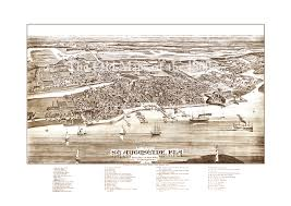 St Augustine Fl Map Sepia Tone Fine Art Map Of St Augustine Florida In 1885