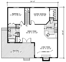 Master Bedroom Bath Floor Plans Contemporary Style House Plan 2 Beds 1 00 Baths 987 Sq Ft Plan