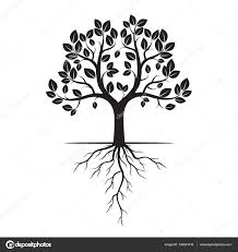 black tree with roots vector illustration stock vector