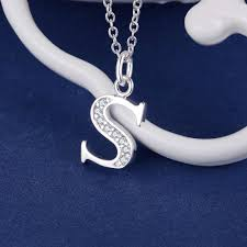 letter s bling zircon silver plated necklace silver pendant