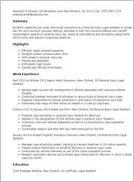 Paralegal Resume Example Personal Injury Lawyer Cover Letter