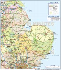 map of east uk digital vector east county road and rail map 1m scale