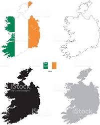 World Map Silhouette Ireland Country Black Silhouette And With Flag On Background Stock