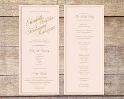 gold wedding programs blush pink gold wedding program classic glam customizable