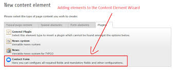 how to add elements to the content element wizard in typo3 typo3