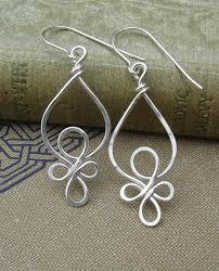 wire earrings celtic loops sterling silver wire earrings celtic jewelry