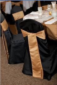 black chair sashes black crown back chair covers gold sashes table party