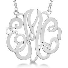 Circle Monogram Necklace Personalized Monogram Pendant Necklace In Sterling Silver Allurez