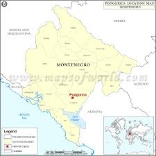 where is podgorica location of podgorica in montenegro map