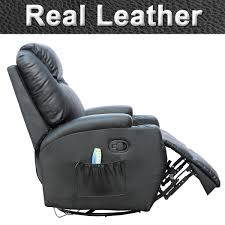 Gaming Chair Ottoman by Cinemo Real Leather Recliner Chair Rocking Massage Swivel Heated