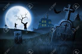spooky haloween pictures spooky halloween night foggy cemetery and haunted house on