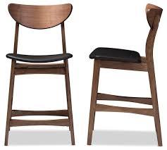 Mid Century Modern Bar Stool Faux Leather Upholstered Walnut Wood Finishing 24 Counter Stool
