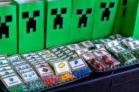 minecraft goody bags hosting a minecraft party