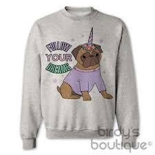 pug sweater pug unicorn sweater jumper top pugicorn follow your dreams pugs