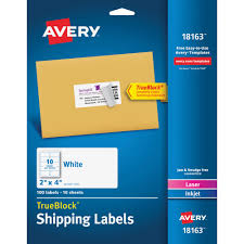 2 X 4 Label Template 10 Per Sheet Avery Shipping Labels With Trueblock Technology Office Mart
