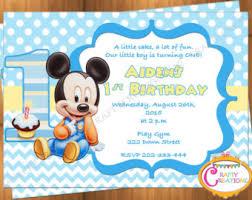 Mickey Mouse 1st Birthday Card Mickey Mouse 1st Birthday Invitation Etsy